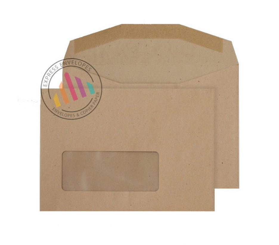 C6 - Manilla Mailing Envelopes - 80gsm - Window - Gummed