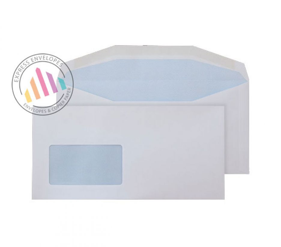 DL+ - White Matt Coated Mailing Envelopes - 115gsm - Window - Gummed