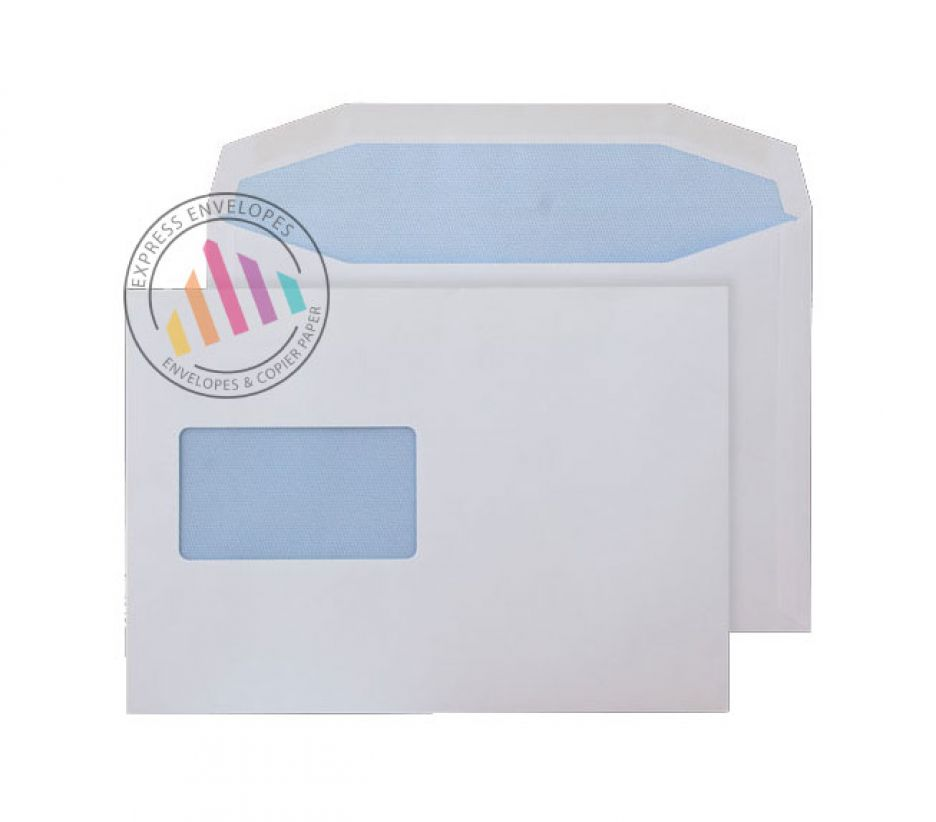 C5- White Matt Coated Mailing Envelopes - 115gsm - Window - Gummed
