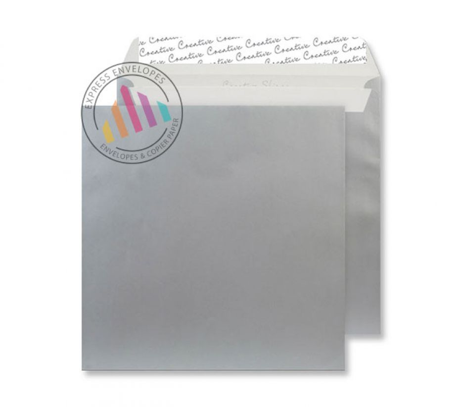 220 x 220mm - Metallic Silver Envelopes - 130gsm - Non Window - Peel & Seal