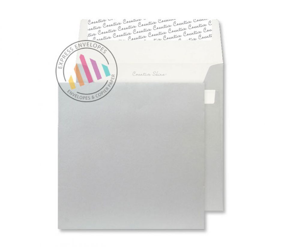 160 x 160mm - Metallic Silver Envelopes - 130gsm - Non Window - Peel & Seal