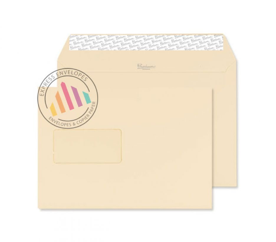 C5 - Cream Wove Envelopes - 120gsm - Window - Peel & Seal