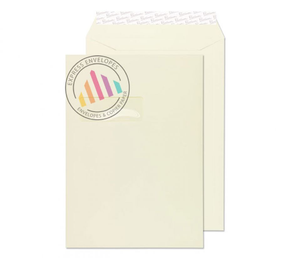 C4 - Oyster Wove Envelopes - 120gsm - Window - Peel & Seal