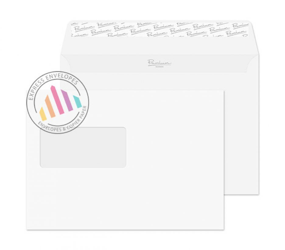 C5 - Ice White Wove Envelopes - 120gsm - Window - Peel & Seal