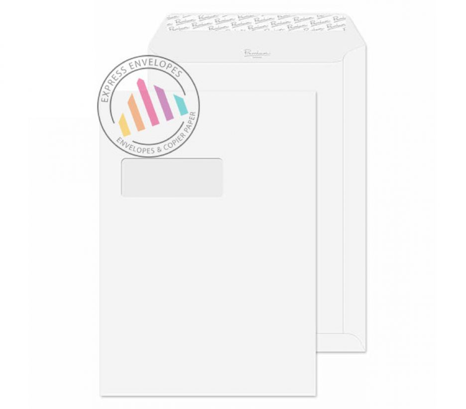 C4 - Ice White Wove Envelopes - 120gsm - Window - Peel & Seal