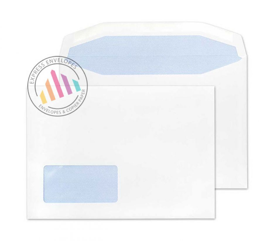 C5 - White Mailing Envelopes - 90gsm - Low Window - Gummed