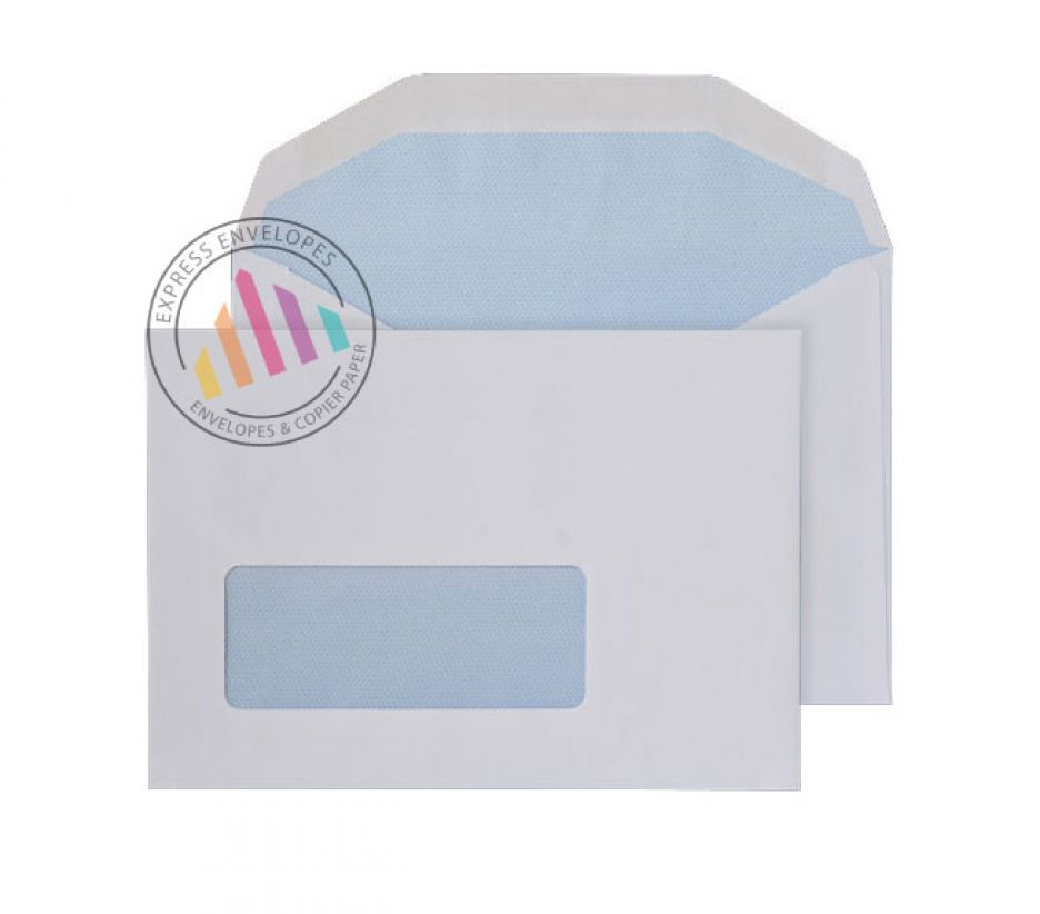 C6 - White Mailing Envelopes - 80gsm - Window - Gummed