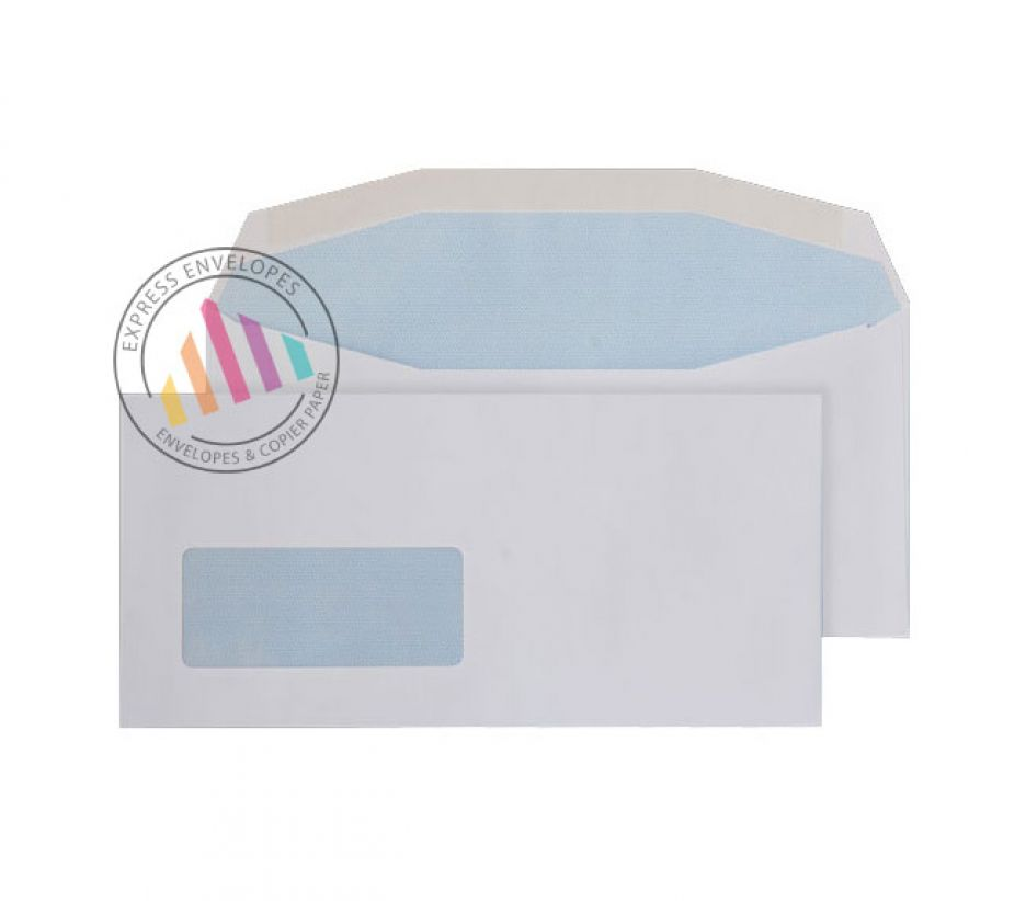 DL+ - White Mailing Envelopes - 90gsm - Window - Gummed