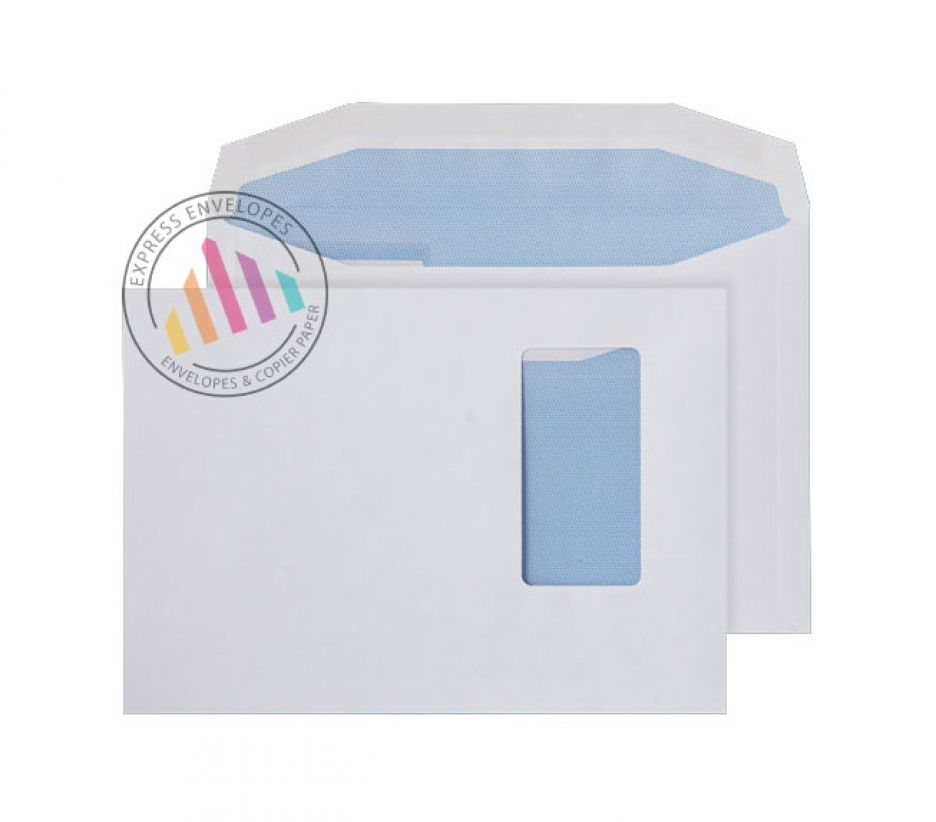 C5 - White Mailing Envelopes - 90gsm -  Portrait Window - Gummed