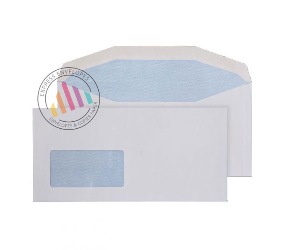DL++ - White Mailing Envelopes - 90gsm - Window - Gummed