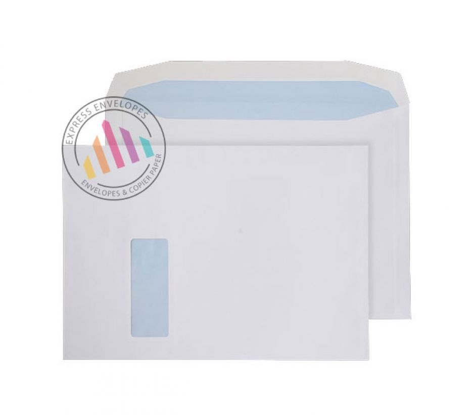 C4 - White Mailing Envelopes - 120gsm - Window - Gummed