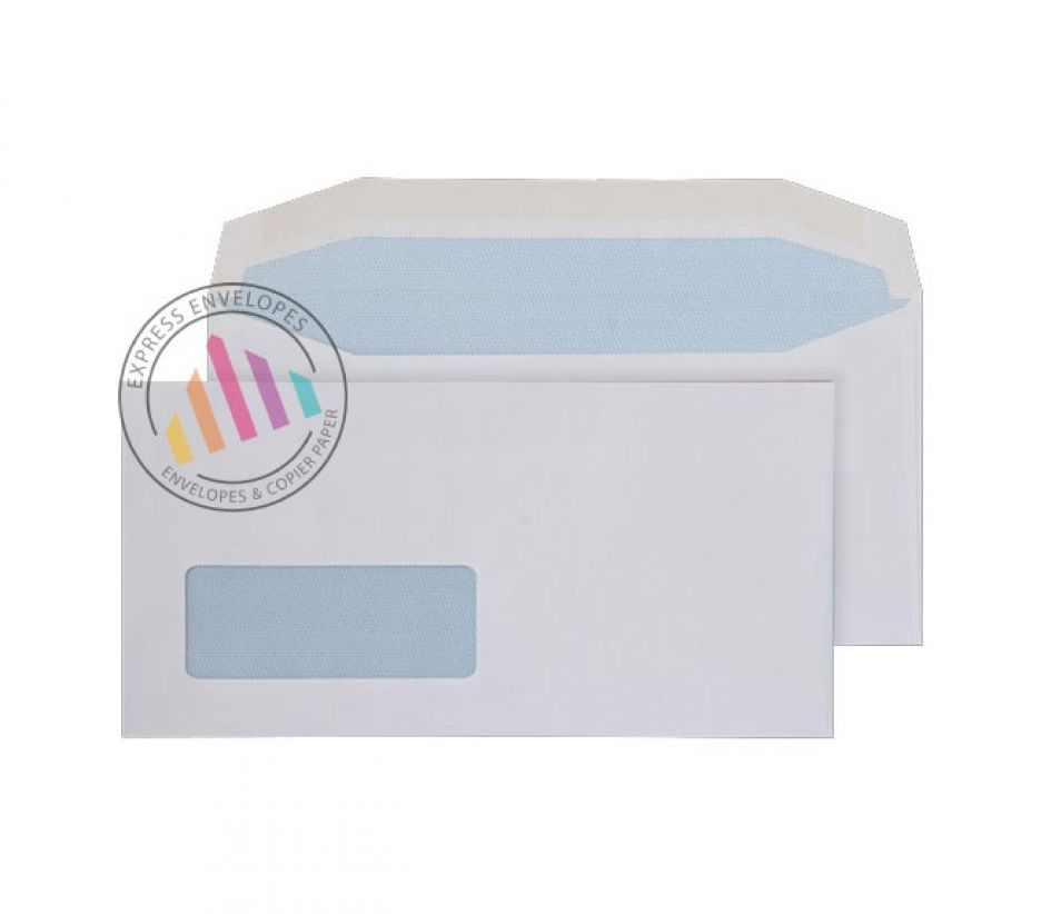 DL - White Mailing Envelopes - 110gsm - Window - Gummed