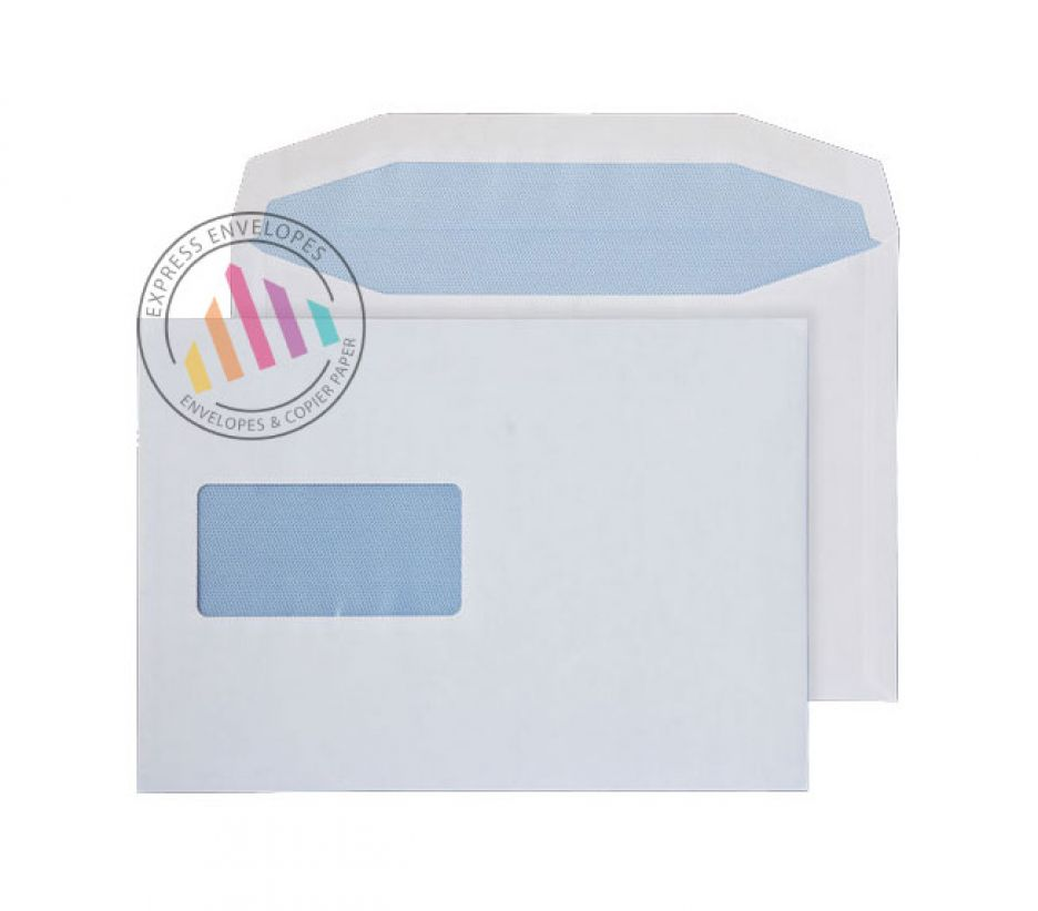 C5 - White Mailing Envelopes - 110gsm - Window - Gummed