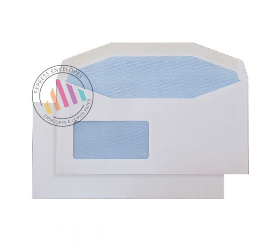 DL+ - White Mailing Envelopes - 110gsm - Reverse Window - Gummed