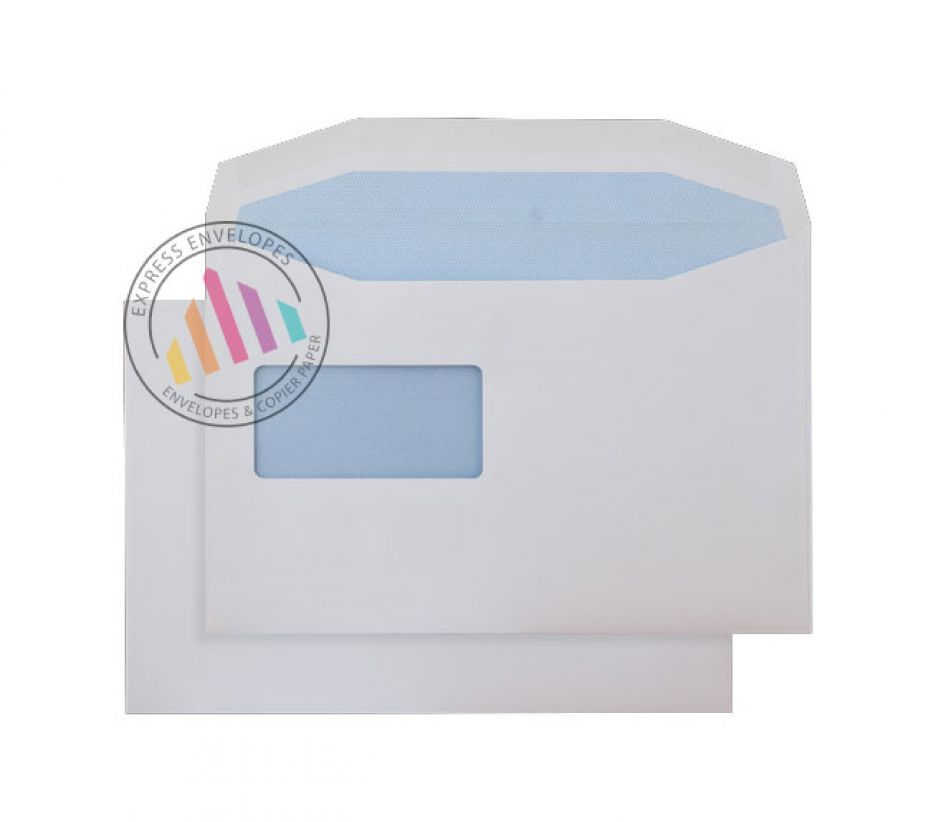 C5 - White Mailing Envelopes - 90gsm - Reverse Window - Gummed