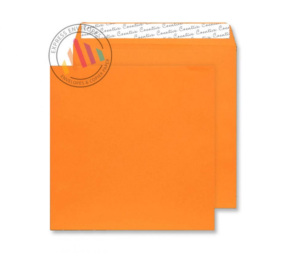 220 x 220mm - Pumpkin Orange Envelopes - 120gsm - Non Window - Peel and Seal