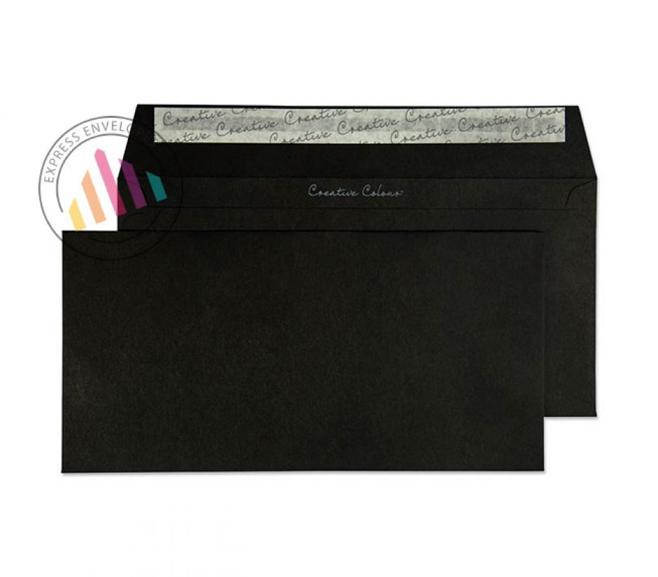 DL+ - Jet Black Envelopes - 120gsm - Non Window- Peel & Seal