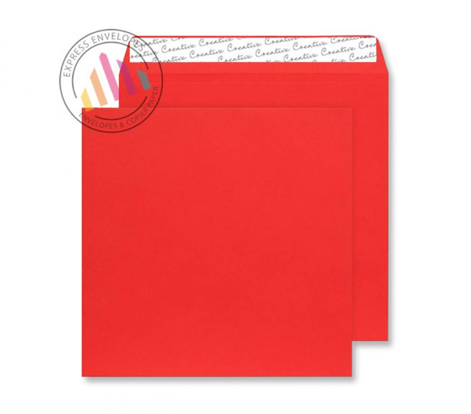 220×220mm - Pillar Box Red Envelopes - 120gsm - Non Window - Peel and Seal