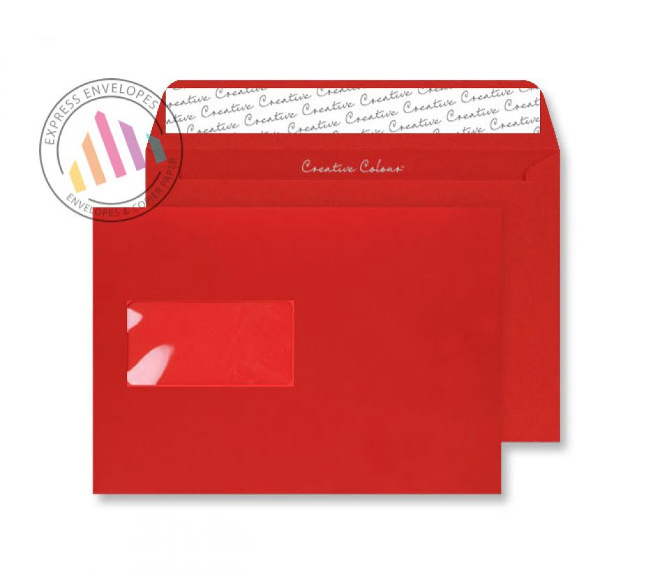 C5 - Pillar Box Red Envelopes - 120gsm - Window - Peel and Seal