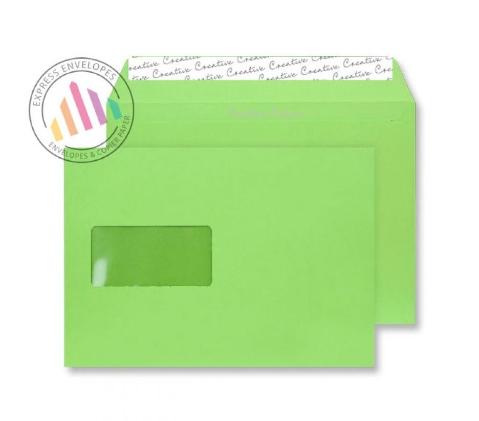 C5 - Lime Green Envelopes - 120gsm - Window - Peel and Seal