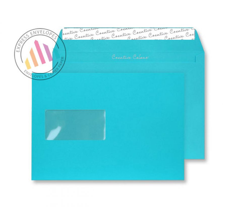 C5 - Cocktail Blue Envelopes - 120gsm - Window - Peel and Seal