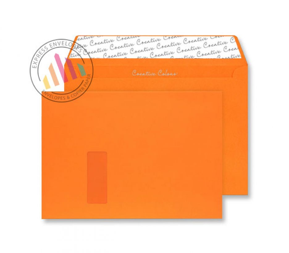 C4 - Pumpkin Orange Envelopes - 120gsm - Window - Peel and Seal