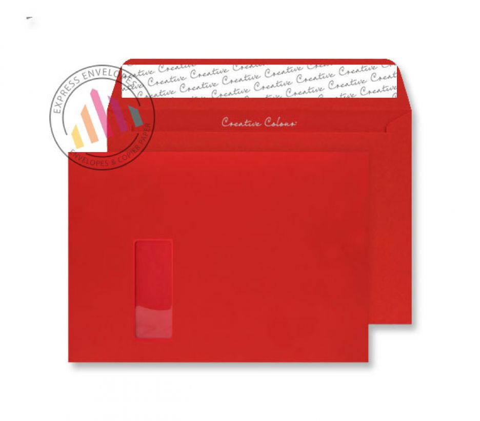 C4 - Pillar Box Red Envelopes - 120gsm - Window - Peel and Seal