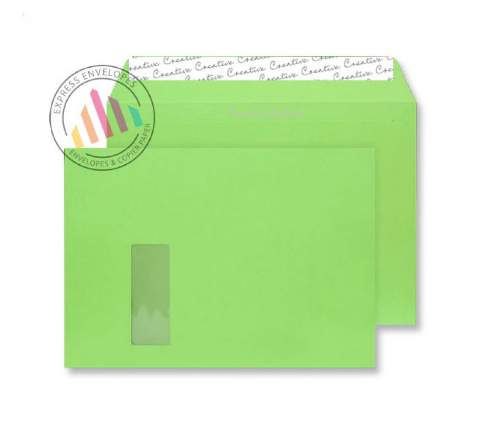 C4 - Lime Green Envelopes - 120gsm - Window - Peel and Seal