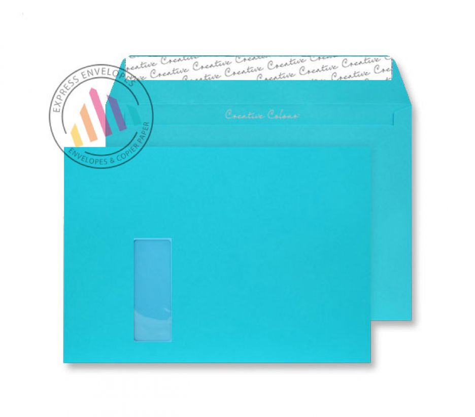C4 - Cocktail Blue Envelopes - 120gsm - Window - Peel and Seal