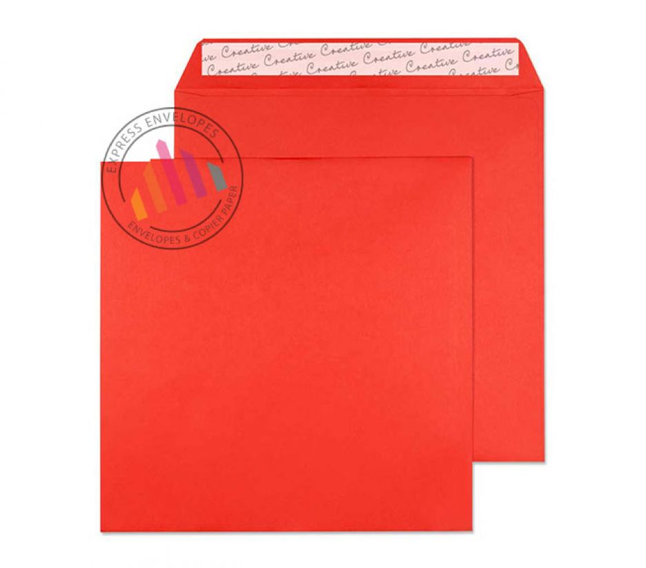 160×160mm - Pillar Box Red Envelopes - 120gsm - Non Window - Peel and Seal