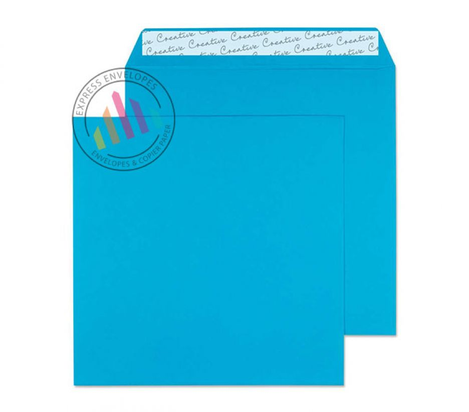 160×160mm - Caribbean Blue Envelopes - 120gsm - Non Window - Peel and Seal