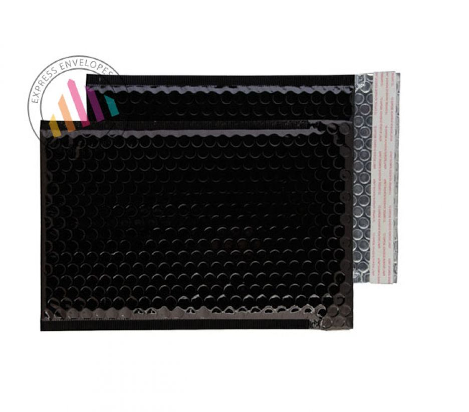 250×180mm - Oil Black Padded Bubble Envelopes - Peel and Seal