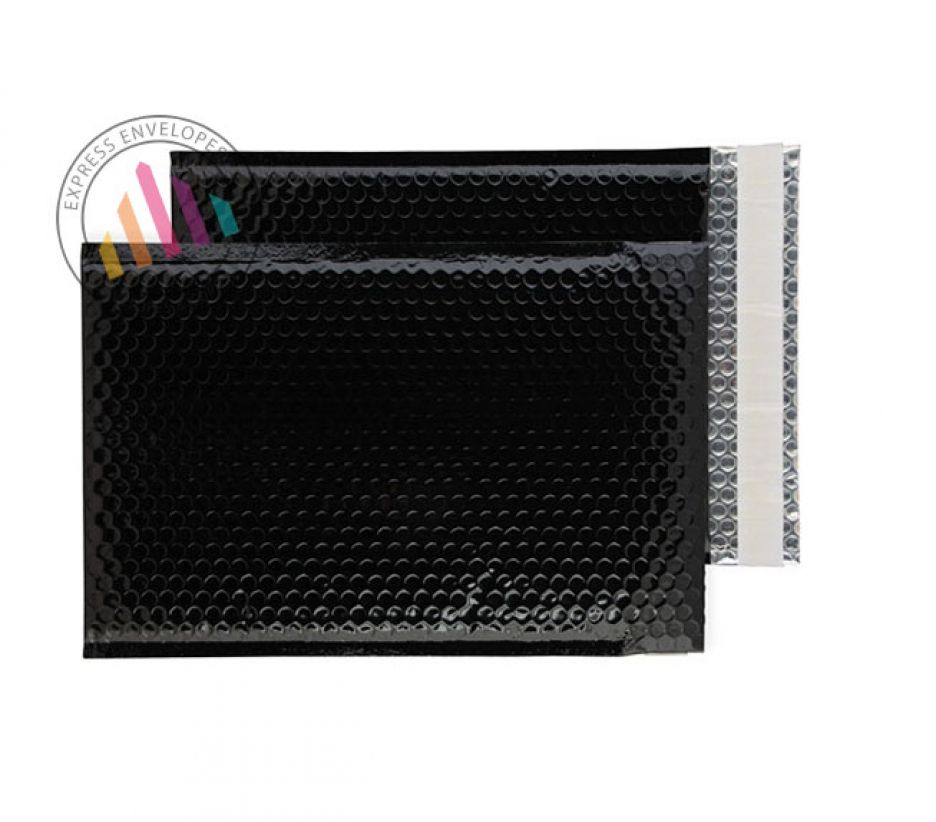 C4 - Oil Black Padded Bubble Envelopes - Peel and Seal