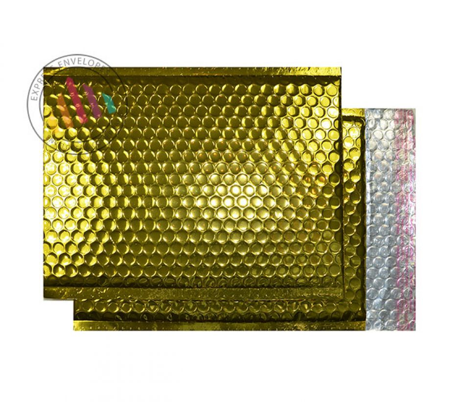 250×180mm - Glamour Gold Padded Bubble Envelopes - Peel and Seal