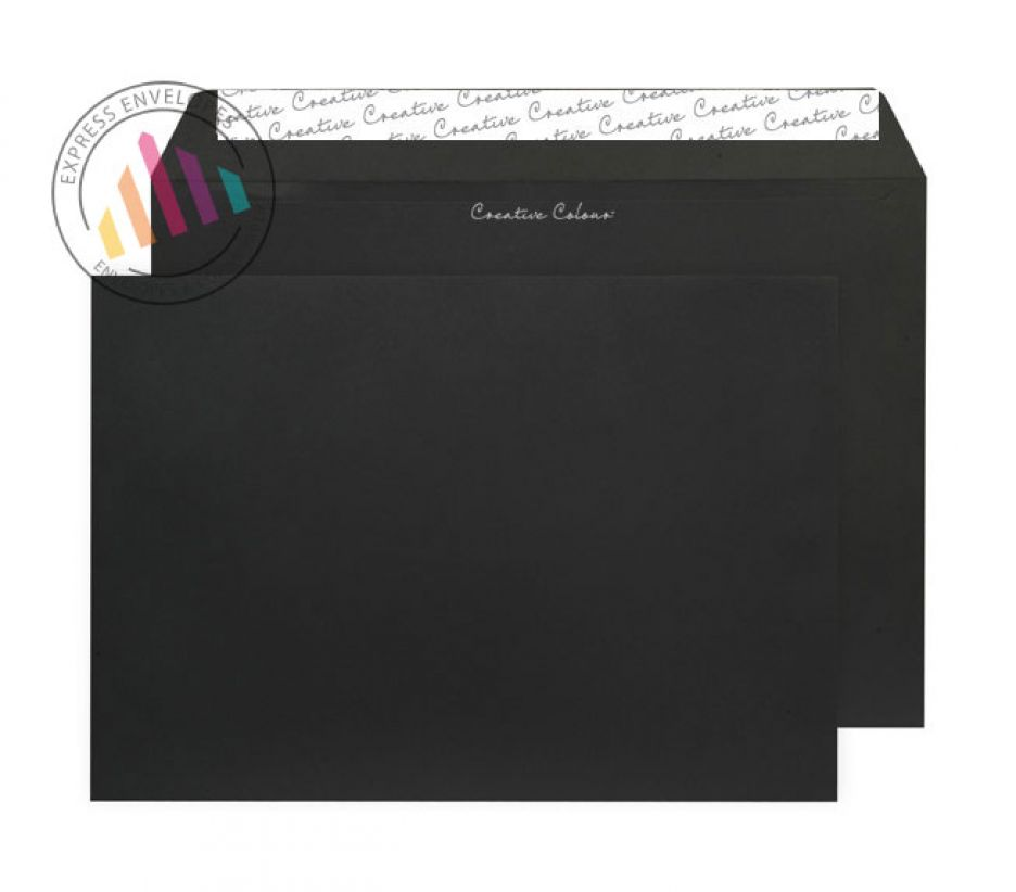 C4 - Jet Black Envelopes - 120gsm - Non Window - Peel & Seal