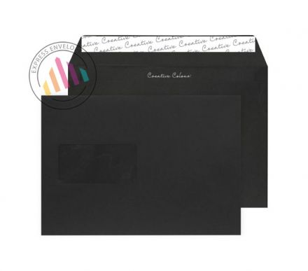 C5 - Jet Black Envelopes - 120gsm - Window - Peel & Seal