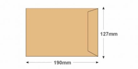 190x127mm -  Manilla Commercial Envelopes - 115gsm - Non Window - Gummed - image 2