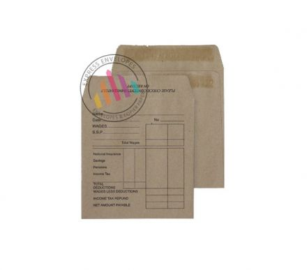 108 x 102mm - Manilla Wage Envelopes - 80gsm - Non Window - Self Seal