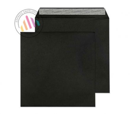 160x160mm - Jet Black Envelopes - 120gsm - Non Window - Peel & Seal