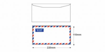 DL - White Block & Border Airmail Envelopes - 80gsm - Non Window - Gummed - image 2