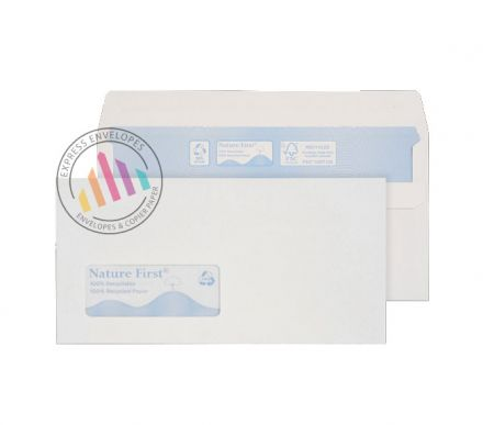 Recycled DL -  White Envelopes - 90gsm -  Window - Self Seal