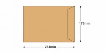 254 x 178 -  Manilla Commercial Envelopes - 90gsm - Non Window - Gummed - image 2