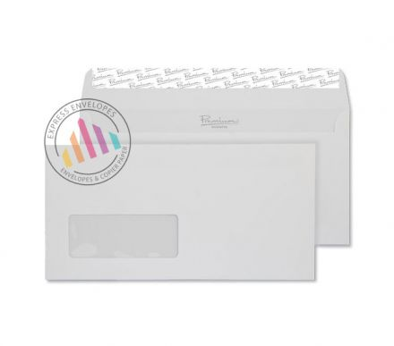 DL - Smooth Diamond White Envelopes - 135gsm - Window - Peel & Seal