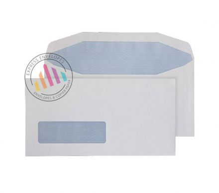121mm x 235mm - White Mailing Envelopes - 90gsm - Window - Gummed