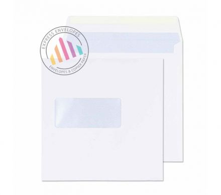 140 x 140mm - White Commercial Envelopes - 100gsm - Window - Gummed