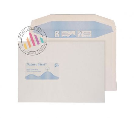 Recycled C5 - White Mailer Envelopes - 90gsm - Window - Gummed