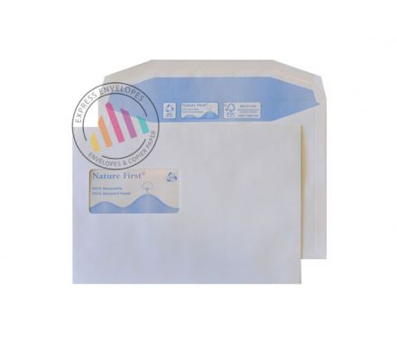 Recycled C5 - White Mailing Envelopes - 90gsm - High Window - Gummed