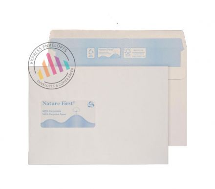 Recycled C5 - White Envelopes - 90gsm - Window - Self Seal