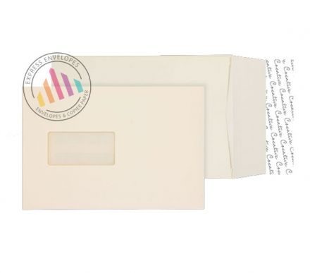 C5 - Cream Wove Gusset Envelopes - 140gsm - Window - Peel & Seal