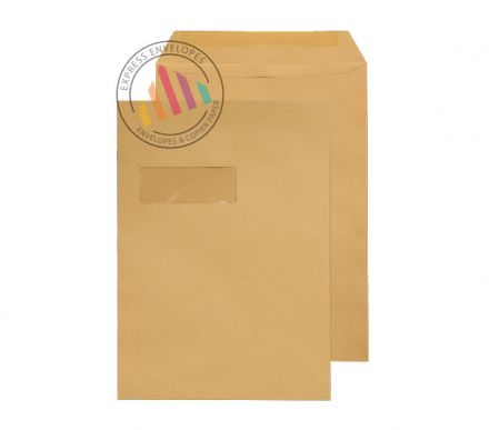 C4 - Manilla Commercial  Envelopes - 90gsm - Window - Gummed